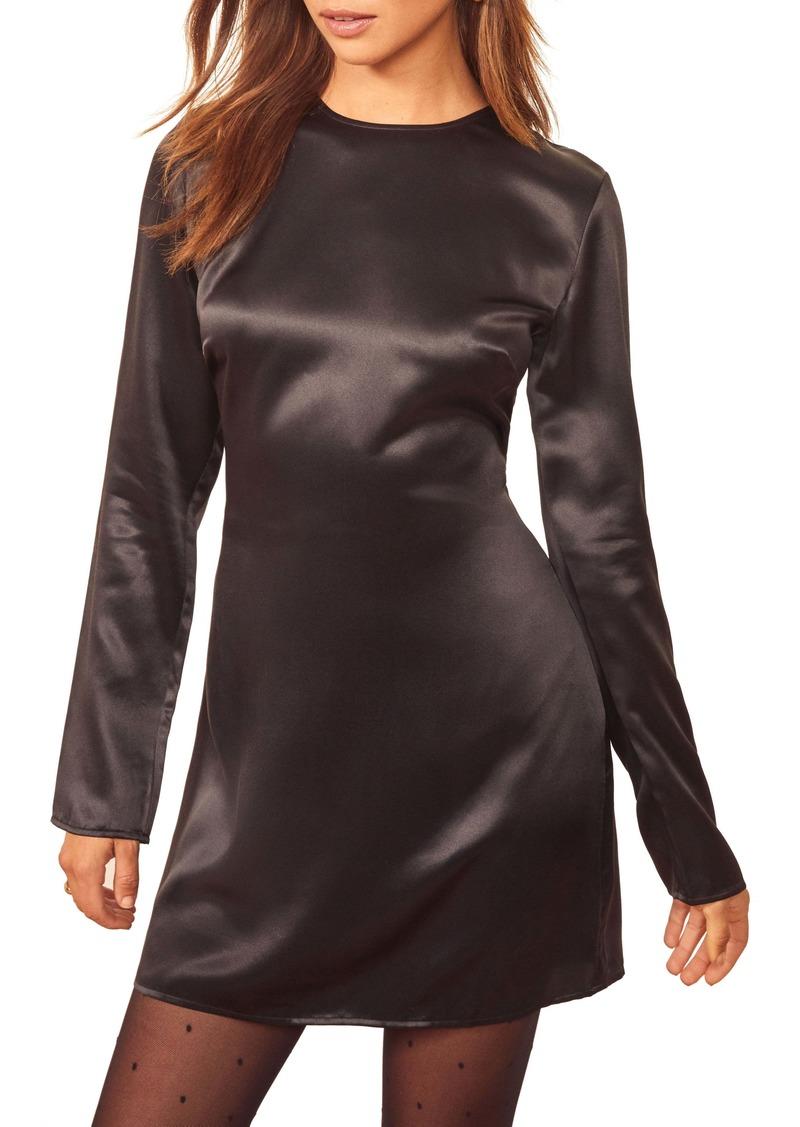 Reformation Bernadette Long Sleeve Silk Minidress