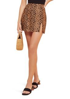 Reformation Cady Leopard Print Linen Miniskirt
