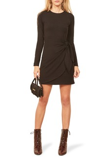 Reformation Calli Side Tie Ribbed Minidress
