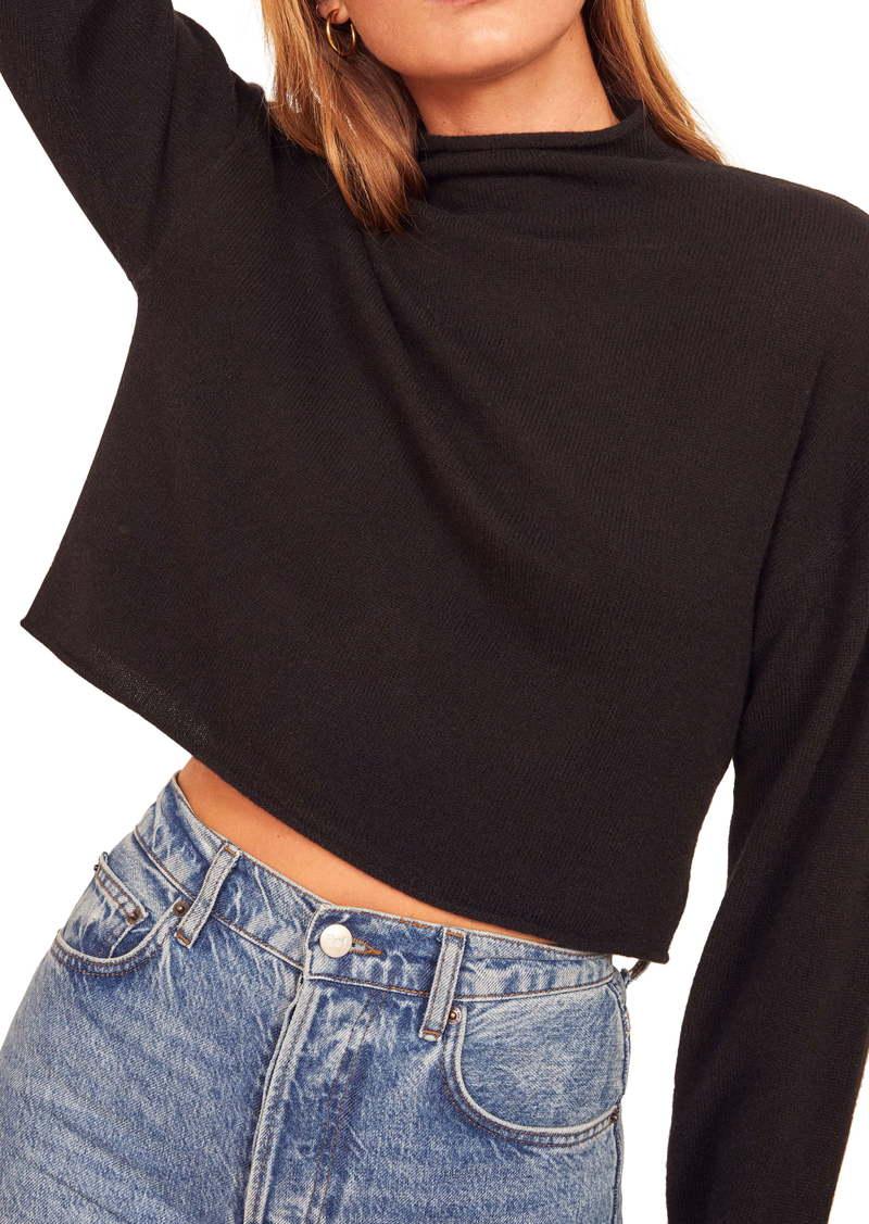 Reformation Cashmere & Wool Crop Roll Neck Sweater