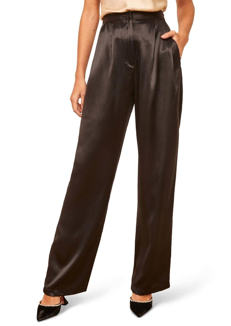 Reformation Chandler High Waist Silk Pants