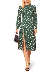 Reformation Creed Print Long Sleeve Midi Dress