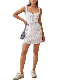 Reformation Elettra Floral Lace-Up Linen Minidress