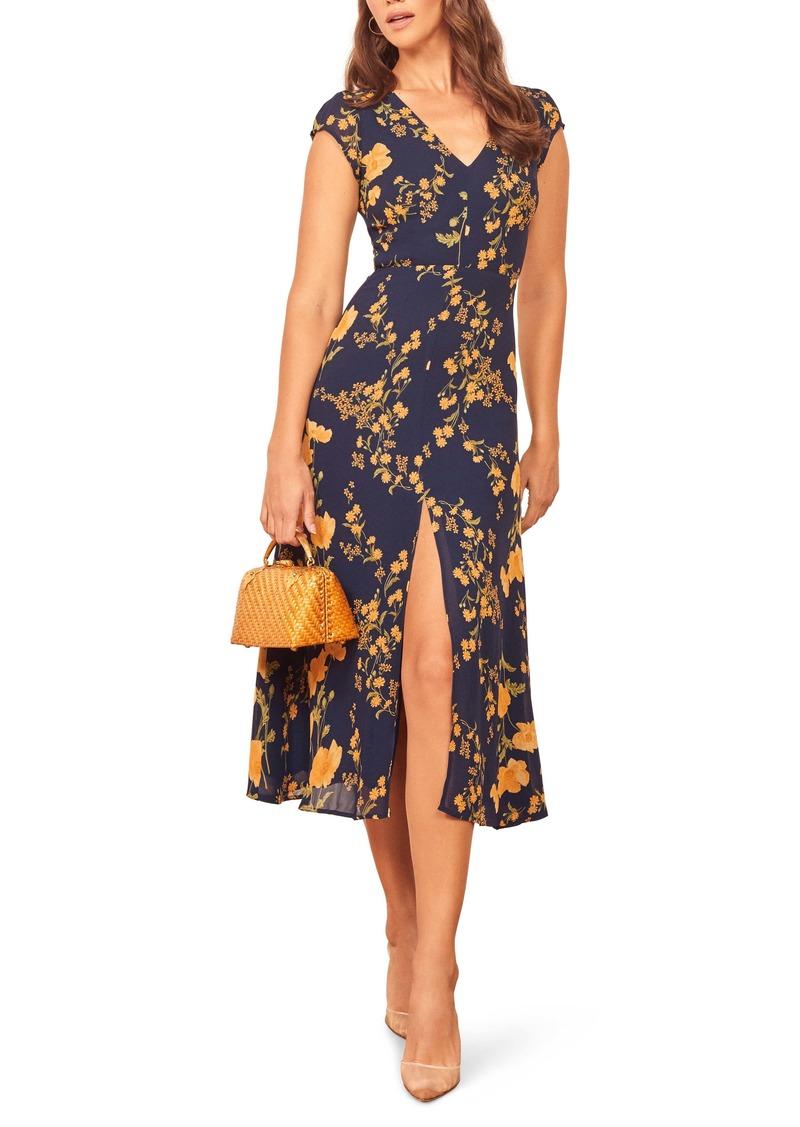 Reformation Floral Wellfleet Back Cutout Dress
