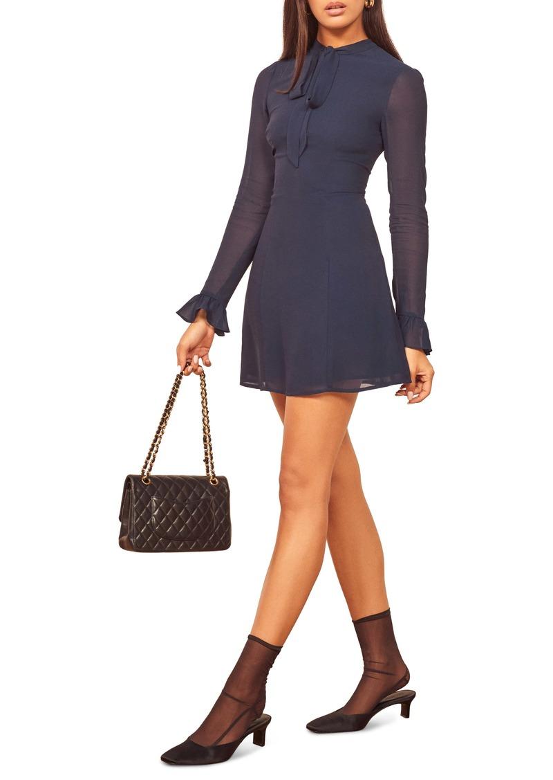Reformation Fox Tie Neck Long Sleeve Minidress
