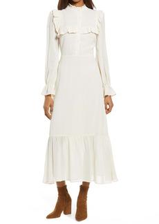 Reformation Hallie Long Sleeve Ruffle Dress