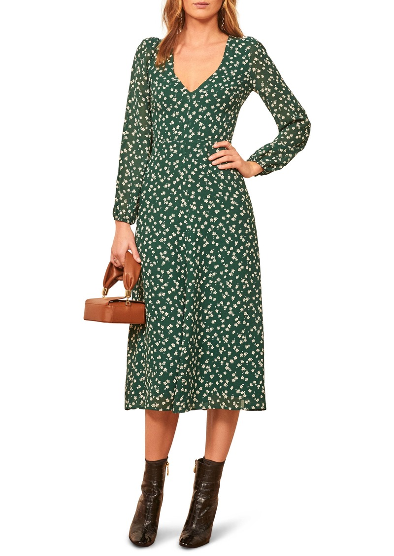 Reformation Joy Floral Open Back Long Sleeve Dress