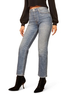 Reformation Juliet High Waist Relaxed Fit Button Fly Straight Leg Jeans (Malta)