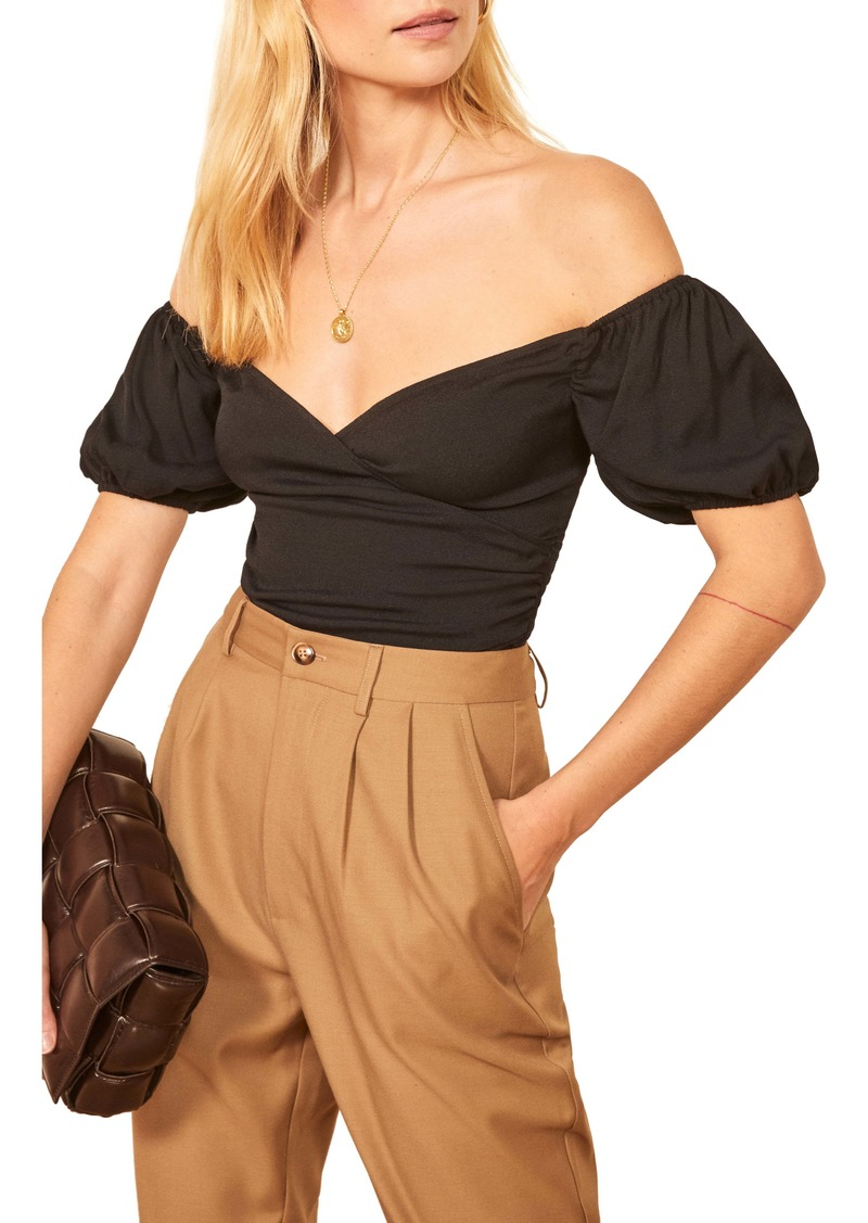 Reformation Lampone Off the Shoulder Top