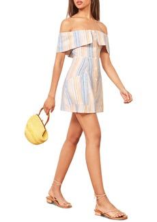 Reformation Landy Off the Shoulder Linen Minidress