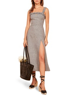 Reformation Lavender Front Slit Linen Midi Dress