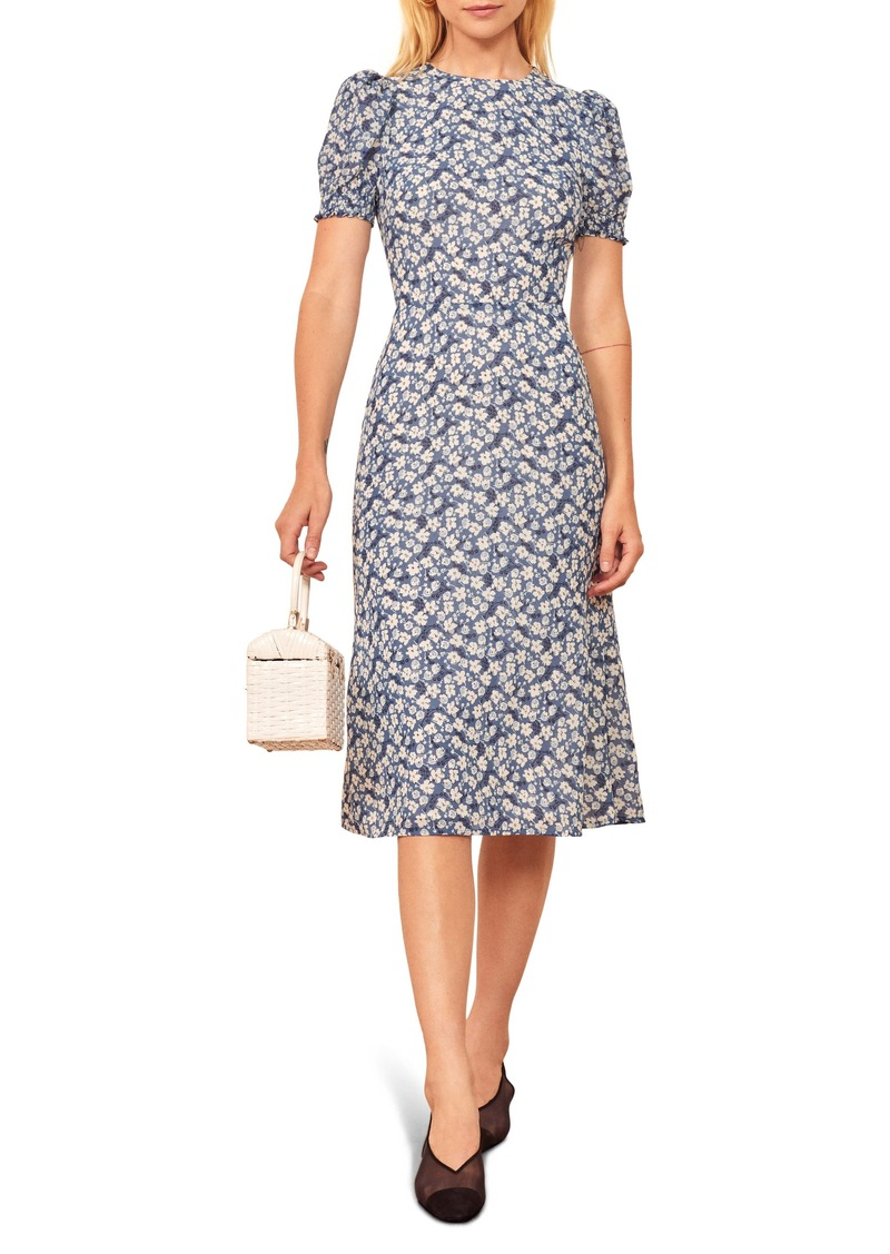 Reformation Lee Floral Puff Sleeve Dress