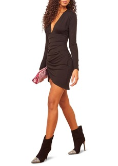 Reformation Leila Plunge Neck Long Sleeve Minidress