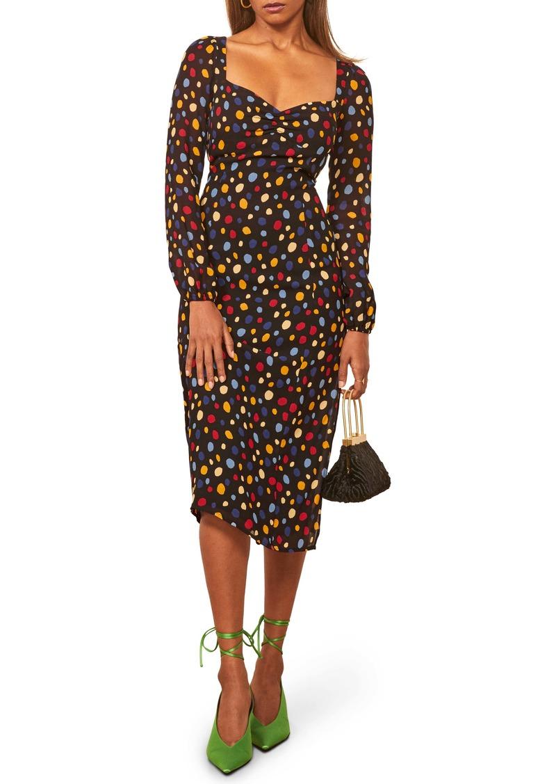 Reformation Mabille Long Sleeve Midi Dress