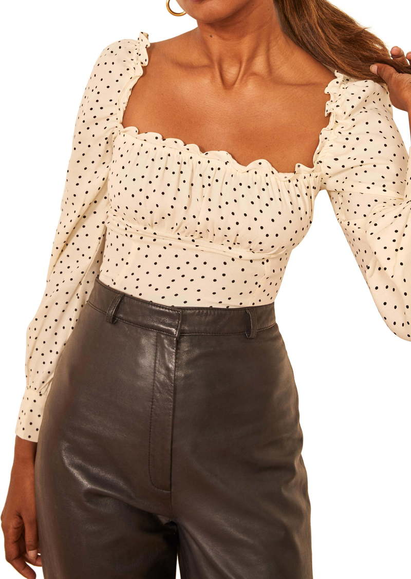 Reformation Matteo Square Neck Long Sleeve Blouse