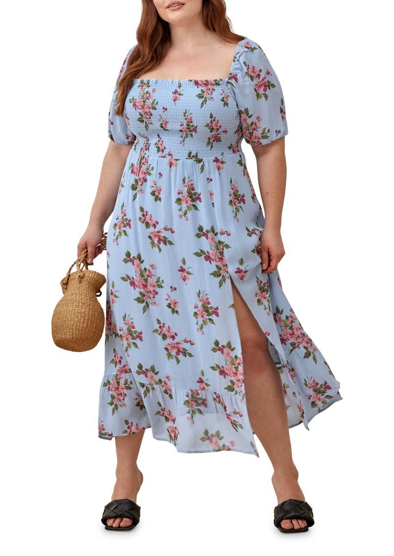 Reformation Meadow Floral Print Midi Dress (Plus Size)