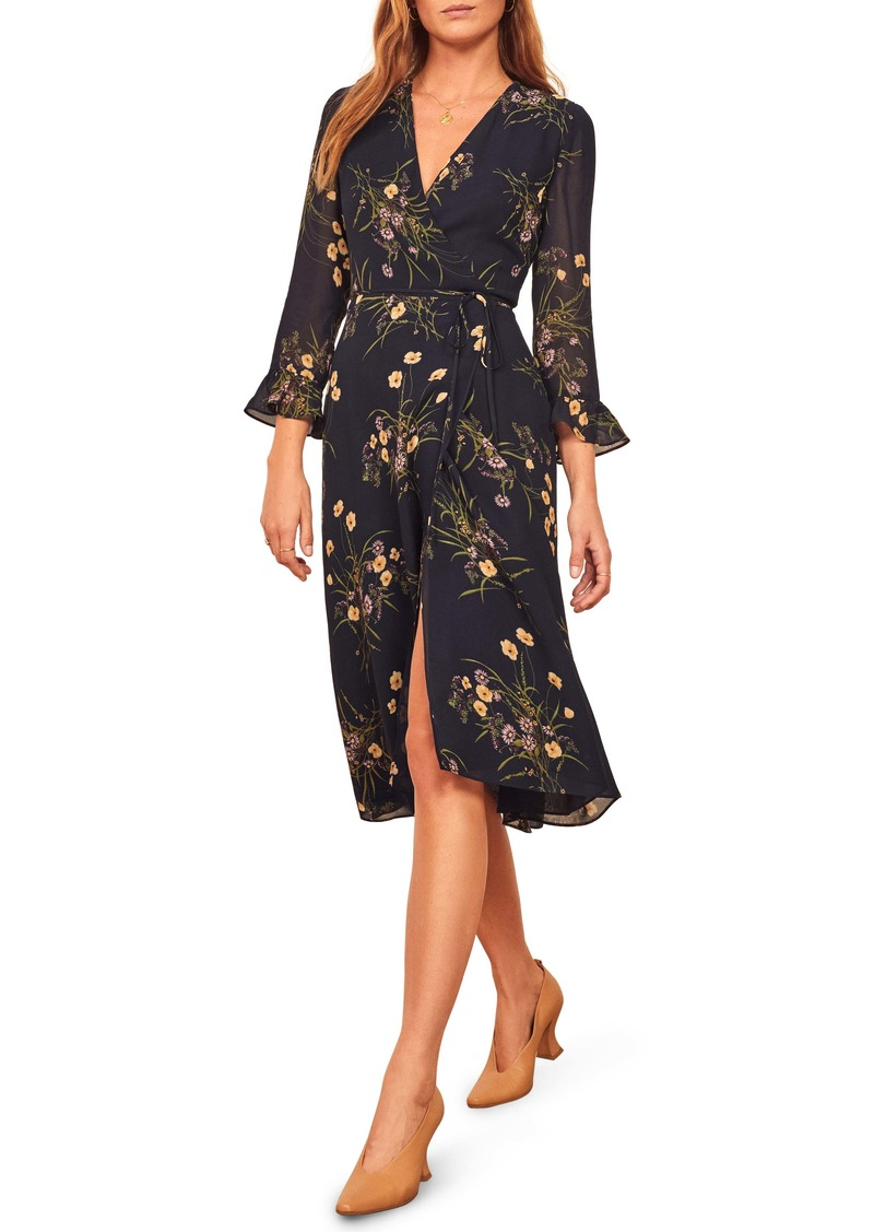 Reformation Mulberry Floral Print Wrap Dress