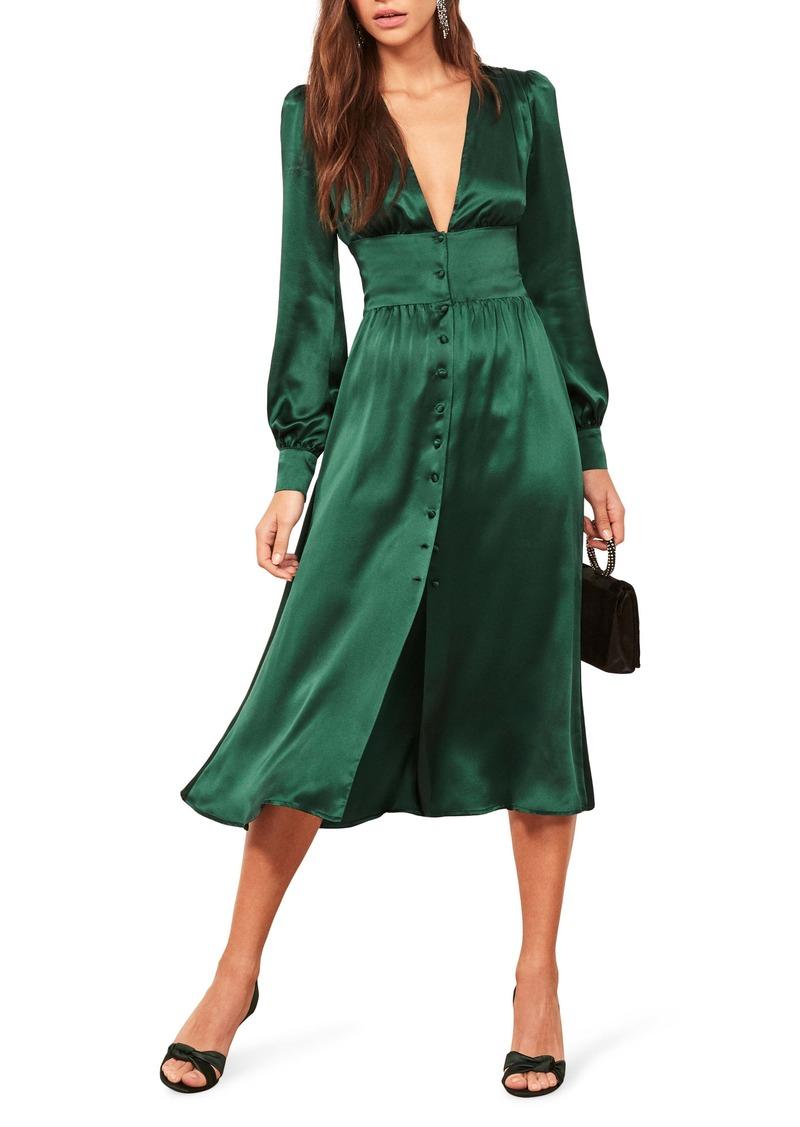 Reformation Nicola Silk Midi Dress