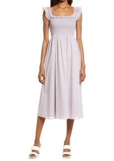 Reformation Noreen Smocked Ruffle Dress