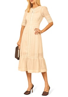 Reformation Oxford Organic Cotton Eyelet Midi Dress