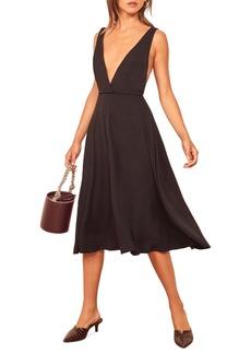 Reformation Plunge Neck Sleeveless Dress