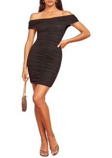 Reformation Sabine Off the Shoulder Ruched Minidress