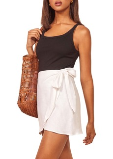 Reformation Sax Linen Wrap Miniskirt