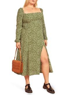 Reformation Sigmund Long Sleeve Dot Print Midi Dress (Plus Size)