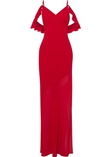 Reformation Woman Ferrara Cold-shoulder Ruffle-trimmed Crepe Maxi Dress Red