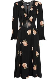 Reformation Woman Heidi Cutout Ruffle-trimmed Floral-print Crepe Dress Black