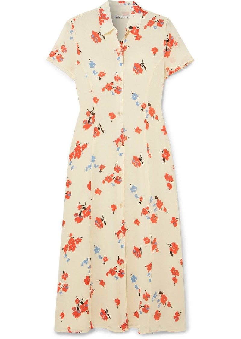 Reformation Sheila Floral-print Georgette Midi Dress