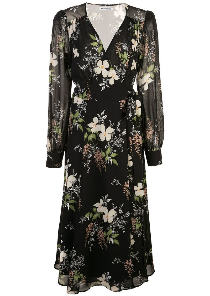 Reformation Susanna floral wrap dress