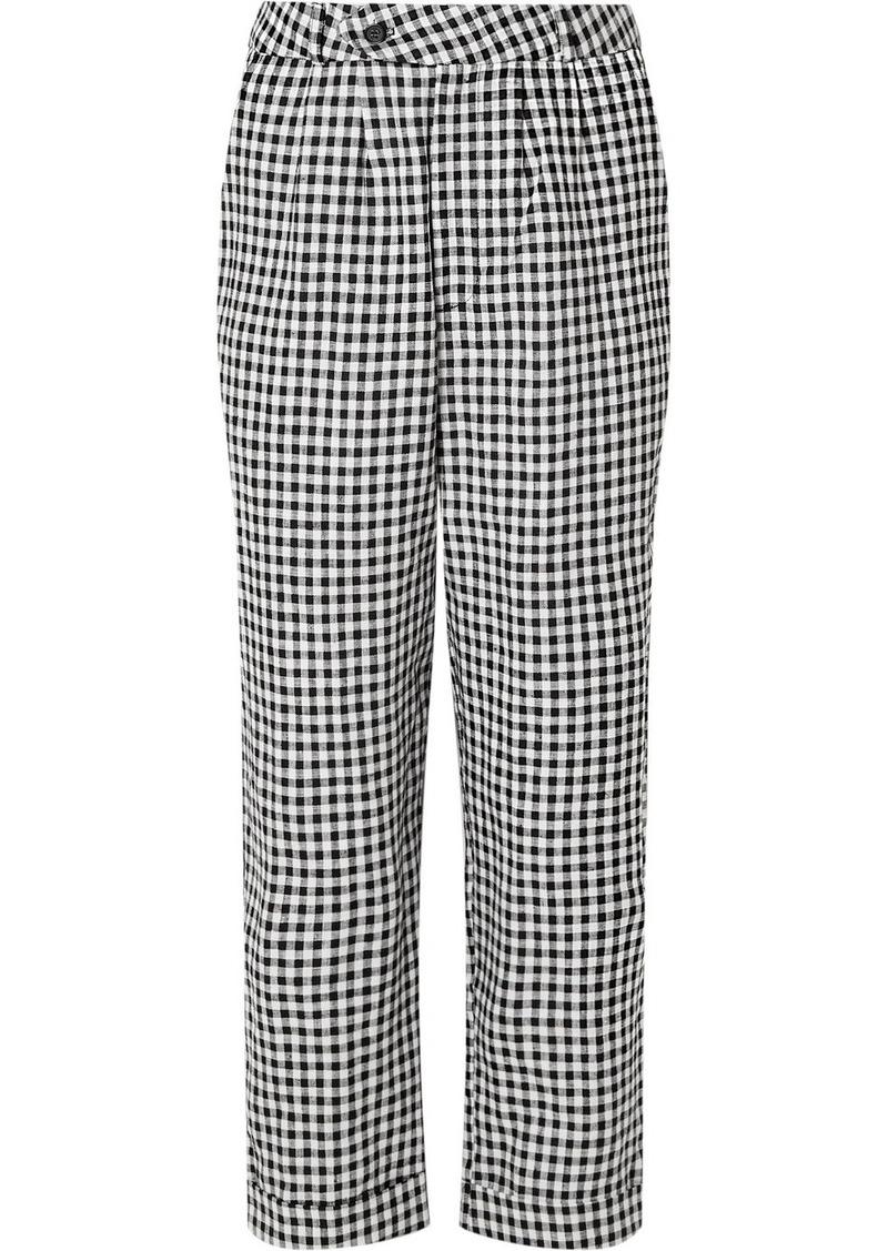 Reformation Tanner Cropped Gingham Linen Slim-leg Pants