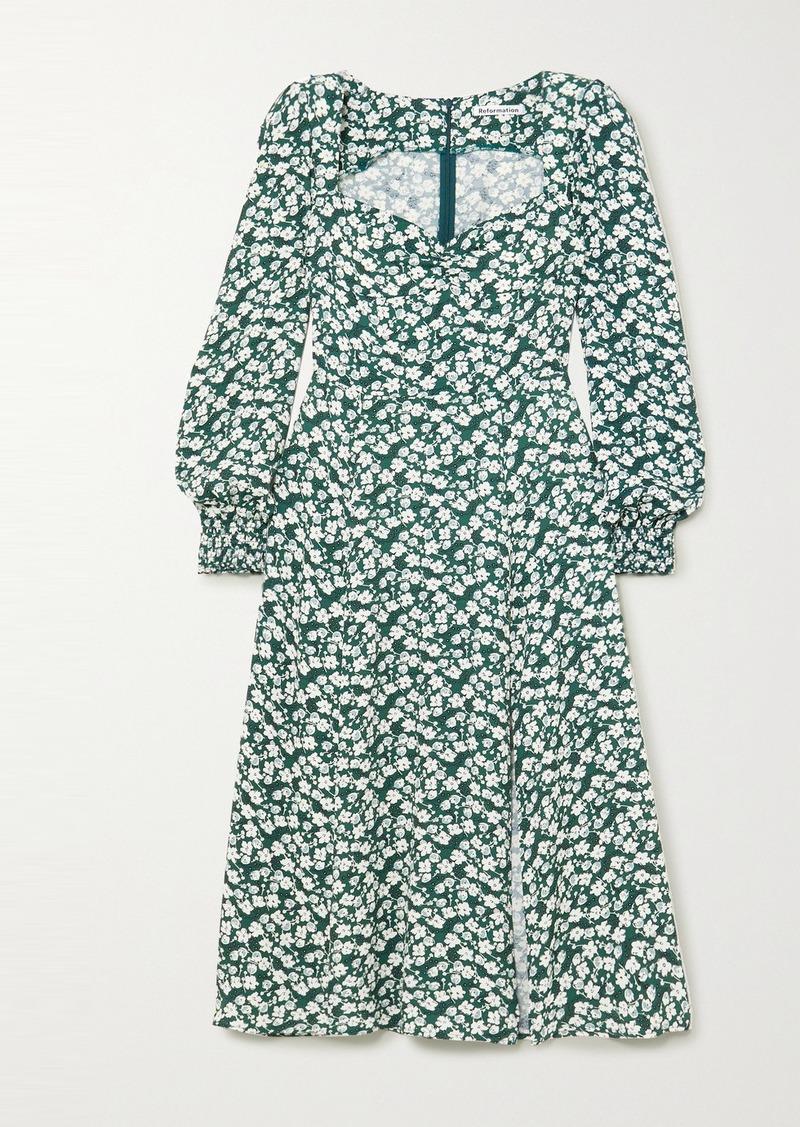 Reformation Wallflower Floral-print Crepe Midi Dress