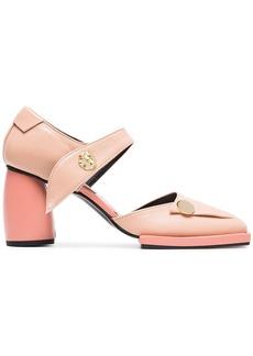 Reike Nen pink 80 button strap leather pumps - Pink & Purple