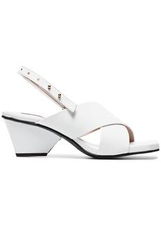 Reike Nen white 60 patent leather cross-over sandals