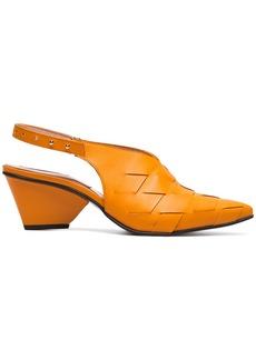 Reike Nen Orange Woven 60 leather slingbacks - Yellow & Orange