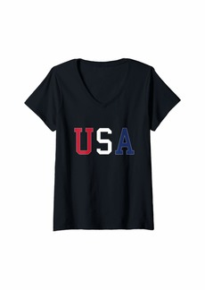 REI Womens Fourth of July - Patriotic - USA - Independence Day V-Neck T-Shirt