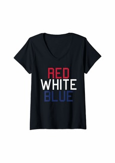 REI Womens Fourth of July - Patriotic - USA - Red White and Blue - 1776 V-Neck T-Shirt