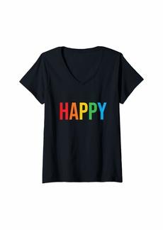 REI Womens Pride Month - Equality - Love is Love - LGBTQ - Rainbow V-Neck T-Shirt