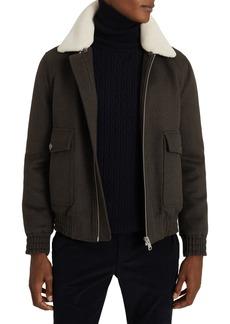 Men's Reiss Rivet Slim Fit Faux Shearling Collar Wool Blend Bomber Jacket