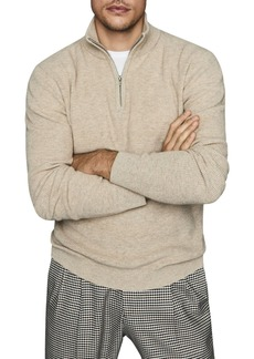 REISS Adam Half-Zip Ribbed Sweater