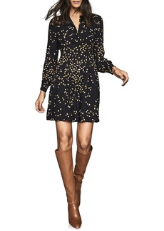 Reiss Arabella Spot Print Long Sleeve Fit & Flare Dress