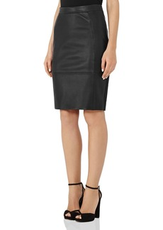 REISS Avril Leather-Front Pencil Skirt