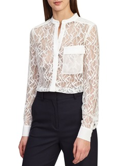 Reiss Betsey Sheer Lace Shirt