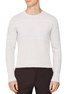 REISS Birch Paneled Long Sleeve Crewneck Sweater