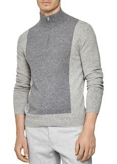 REISS Boardman Color-Block Half-Zip Sweater