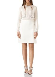 REISS Bruna Lace-Inset Silk Dress