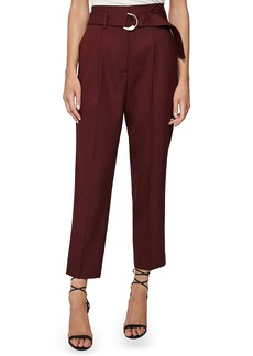Reiss Bythe Belted Wool Blend Ankle Trousers