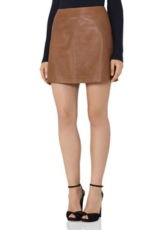 REISS Cammie Leather A-Line Mini Skirt